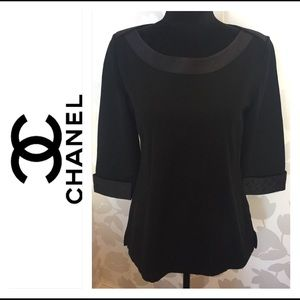 Authentic Chanel Knit w/ Quilted Satin Boat Neck